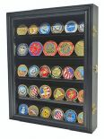 Coin, Medal or Casino Poker Chip Display Stand, Holds 30, Black Wood Finish